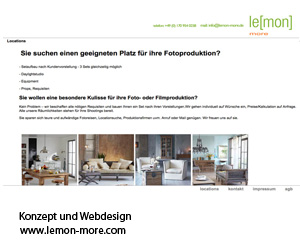 Webauftritt von Lemon_more/locationagentur